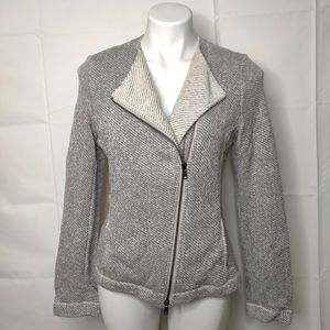 Eileen Fisher Twisted Terry Gray Moto Jacket Sz S